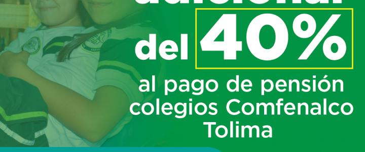 Padres de familia de los colegios de Comfenalco Tolima, categorías A y B obtendrán 40% de subsidio adicional para pago de pensión